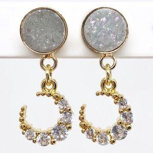 Gold Petite Druzy Moon Earrings w/ Cubic Zirconia